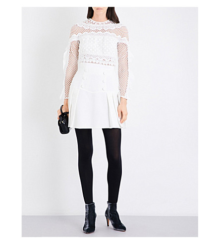 SELF-PORTRAIT Bellis lace-trim mini dress (White