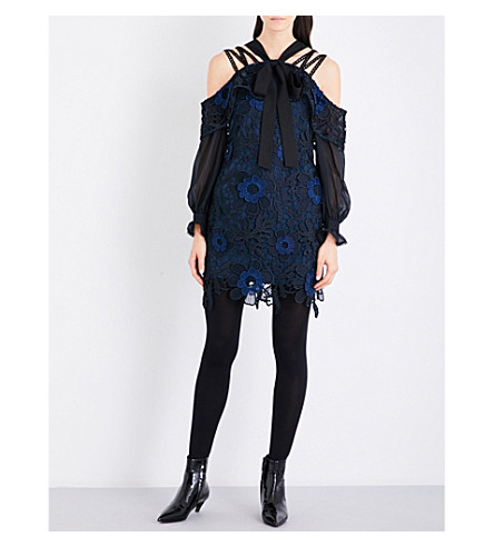 SELF-PORTRAIT 3D floral lace dress (Navy