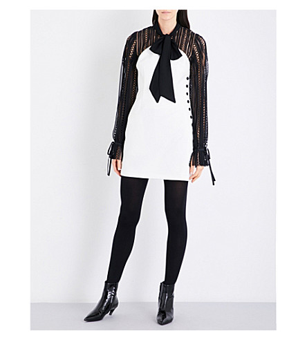 SELF-PORTRAIT Monochrome crepe mini dress (Black+white