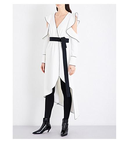 SELF-PORTRAIT Monochrome asymmetric wrap crepe dress (White