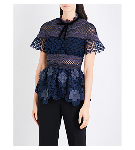 SELF-PORTRAIT 3D floral guipure lace top (Navy