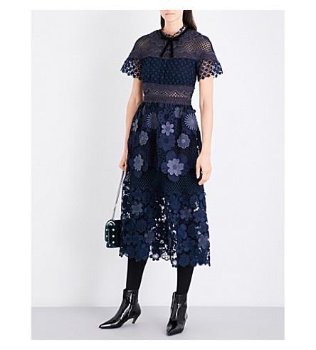 SELF-PORTRAIT Floral mesh guipure lace dress (Navy