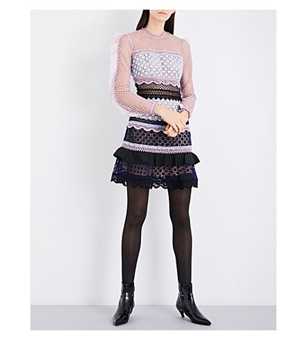 SELF-PORTRAIT Bellis lace-trim guipure-lace dress (Blue