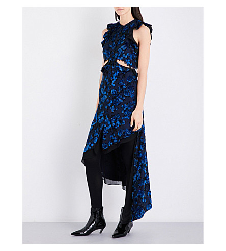 SELF-PORTRAIT Frilled devoré midi dress (Turquoise+blue