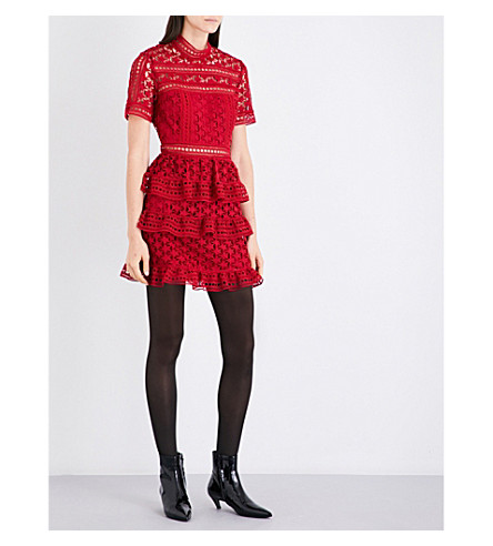 SELF-PORTRAIT Star guipure lace panelled mini dress (Red
