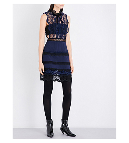 SELF-PORTRAIT Bellis lace and crepe mini dress (Navy