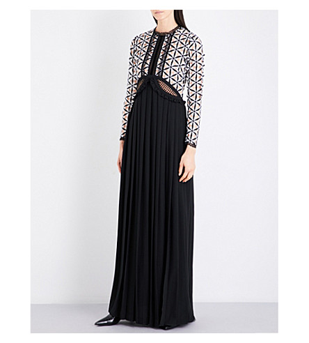 SELF-PORTRAIT Cutout guipure lace and crepe maxi dress (Black/white