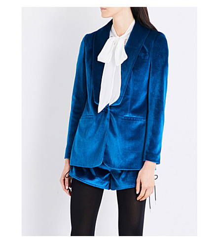 SELF-PORTRAIT Shawl-lapel velvet jacket (Peacock+blue