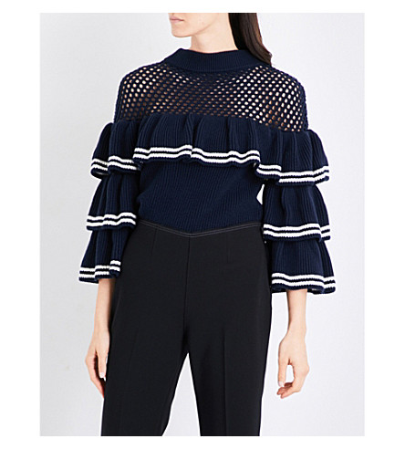 SELF-PORTRAIT Striped frill wool and cotton-blend jumper (Navy