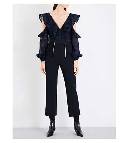 SELF-PORTRAIT Camouflage lace and crepe jumpsuit (Navy