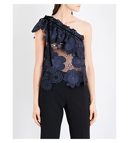 SELF-PORTRAIT 3D guipure lace top (Navy