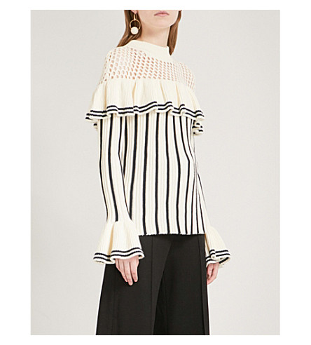 SELF-PORTRAIT Striped ruffled cotton and wool-blend jumper (Ivory