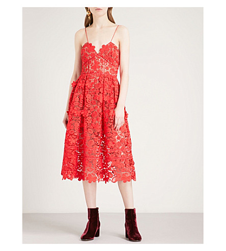 SELF-PORTRAIT 3D Floral Azaelea guipure-lace midi dress (Tomato+red