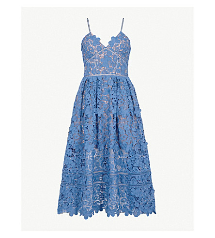 SELF-PORTRAIT 3D Floral Azaelea guipure-lace midi dress (Slate+blue