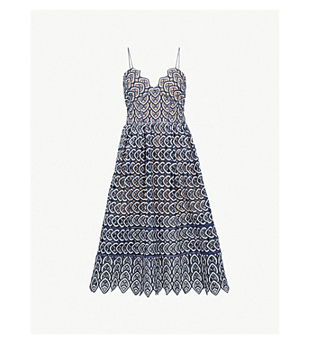 SELF-PORTRAIT Sweetheart Azaelea crochet-lace midi dress (Navy-white