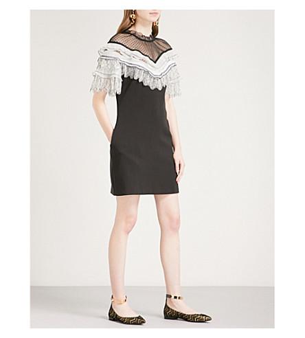 SELF-PORTRAIT Pleated Trim crepe mini dress (Black