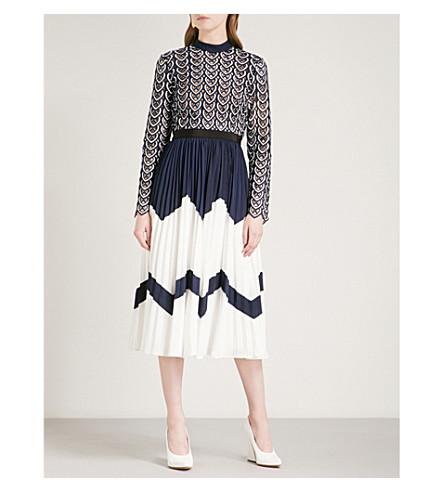 SELF-PORTRAIT Sweetheart Crochet crochet-lace and crepe midi dress (Navy-white