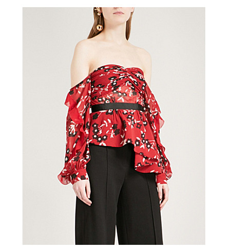 SELF-PORTRAIT Off-the-shoulder floral-print chiffon peplum top (Red