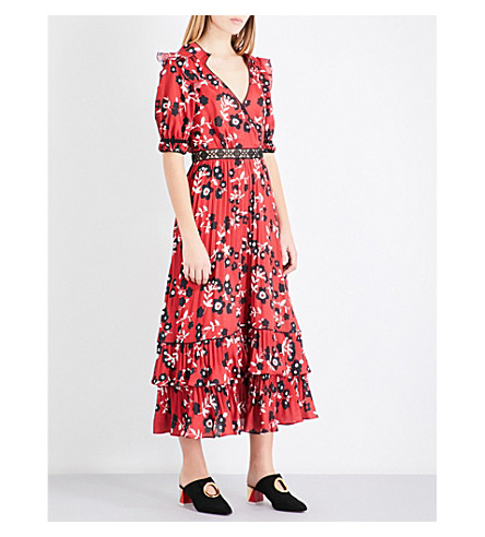 SELF-PORTRAIT Floral-print chiffon shirt dress (Red