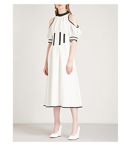 SELF-PORTRAIT Monochrome Calista cold shoulder crepe midi dress (White