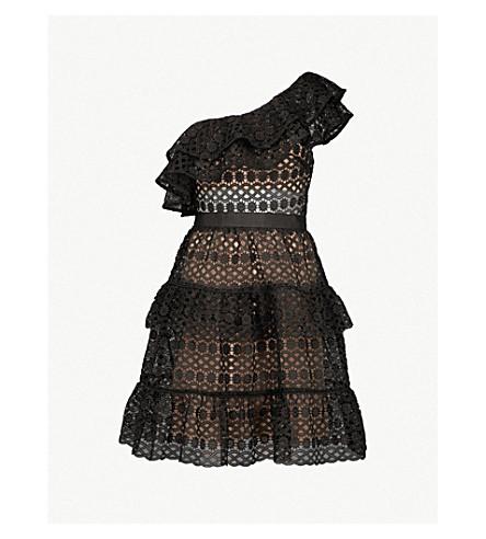 SELF-PORTRAIT Floral Chain guipure-lace mini dress (Black