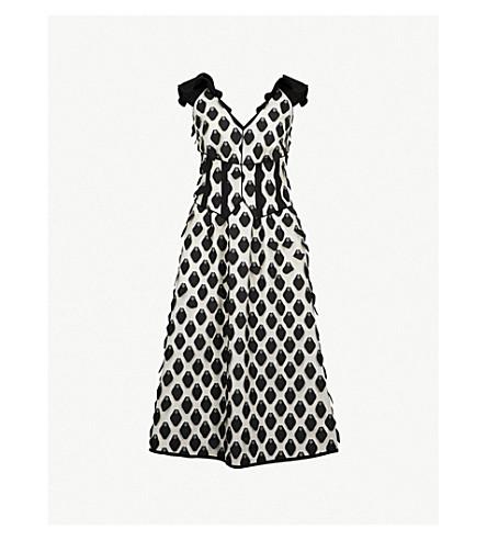 SELF-PORTRAIT 3D Petal jacquard midi dress (Black-white