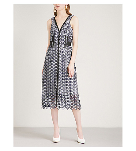 SELF-PORTRAIT Sweetheart Crochet Sleeveless crochet-lace dress (Navy-white