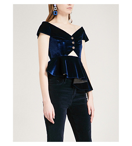 SELF-PORTRAIT Cutout off-the-shoulder velvet peplum top (Cobalt