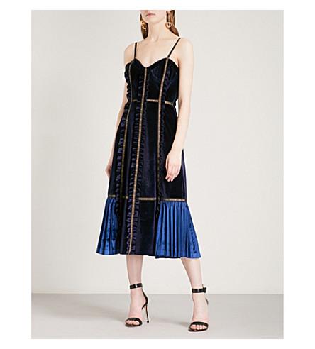 SELF-PORTRAIT Panelled velvet midi dress (Midnight+blue