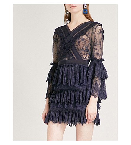 SELF-PORTRAIT Trimmed Fine Lace mini dress (Dark+blue