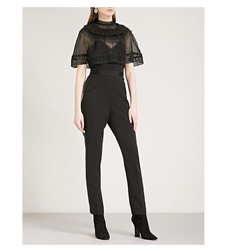 SELF-PORTRAIT Trimmed Overlay crepe jumpsuit (Black