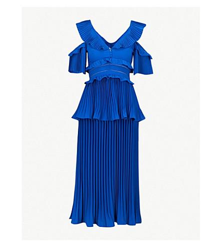 SELF-PORTRAIT Pleated crepe midi dress (Cobalt