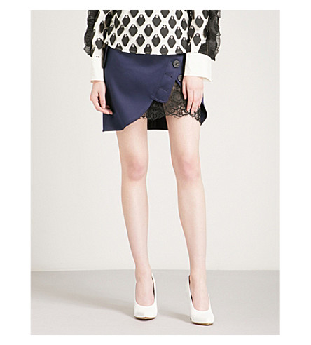 SELF-PORTRAIT Utility satin mini skirt (Navy