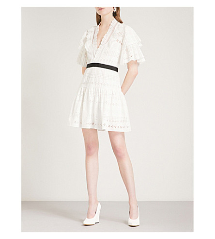 SELF-PORTRAIT Broderie Anglaise Stripe mini dress (White
