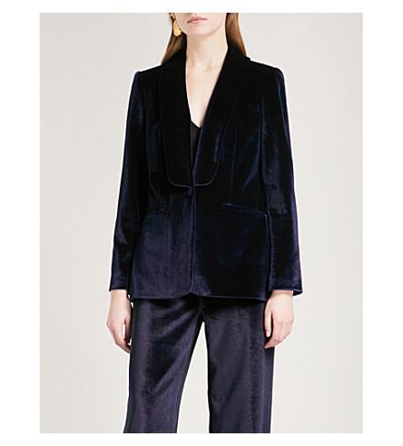 SELF-PORTRAIT Single-breasted velvet blazer (Midnight+blue