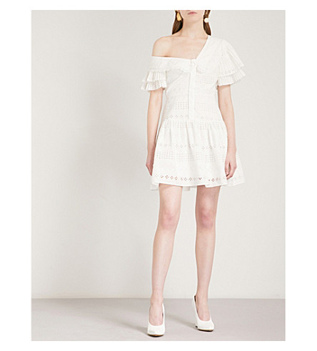 SELF-PORTRAIT One shoulder broderie anglaise dress (White