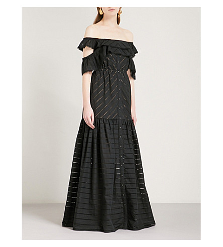 SELF-PORTRAIT Embroidered-stripe cotton maxi dress (Black