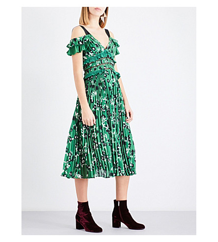 SELF-PORTRAIT Cold-shoulder floral-print crepe dress (Green