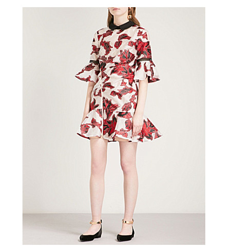 SELF-PORTRAIT Floral Fil Coupe Dress (Red
