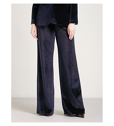 SELF-PORTRAIT Wide-leg velvet trousers (Midnight+blue