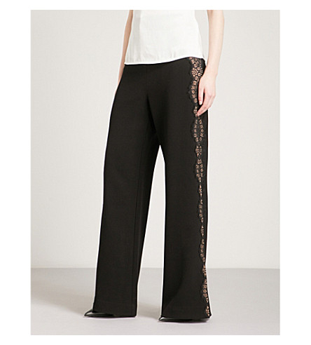 SELF-PORTRAIT Wide-leg crepe trousers (Black