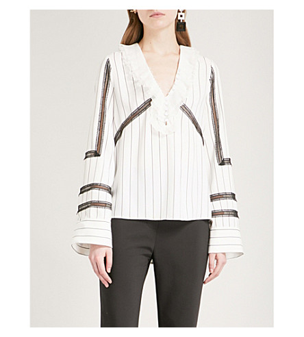 SELF-PORTRAIT Monochrome stripe trimmed crepe shirt (Black-white