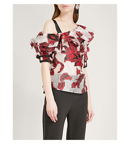 SELF-PORTRAIT Floral fil-coupe top (Red