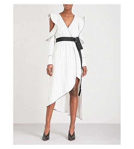 SELF-PORTRAIT Monochrome Asymmetric crepe wrap dress (Black-white