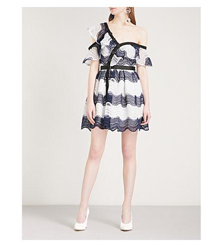 SELF-PORTRAIT Wave guipure-lace frill mini dress (Blue-white