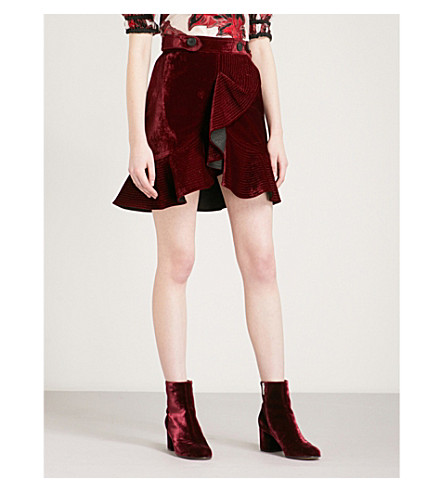 SELF-PORTRAIT Flounced velvet mini skirt (Burgundy