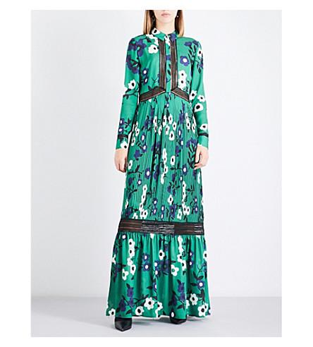 SELF-PORTRAIT Ebony-print crepe de chine maxi dress (Green