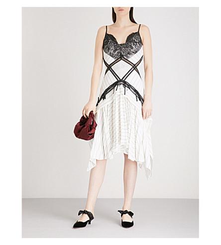 SELF-PORTRAIT Panelled Monochrome Stripe crepe dress (White