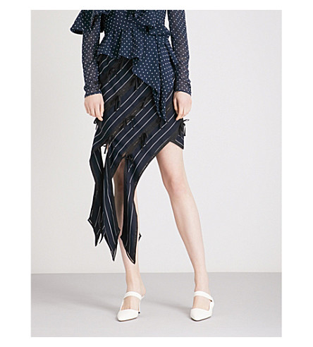 SELF-PORTRAIT Pinstripe Asymmetric Panelled skirt (Navy