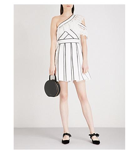 SELF-PORTRAIT Broderie Anglaise Frill mini dress (White